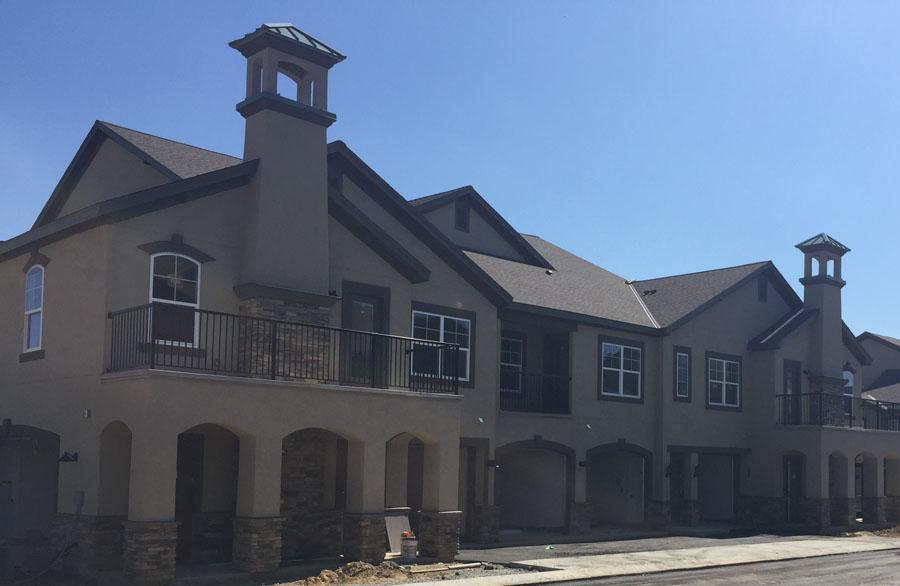black picket metal railings for multi-family homes