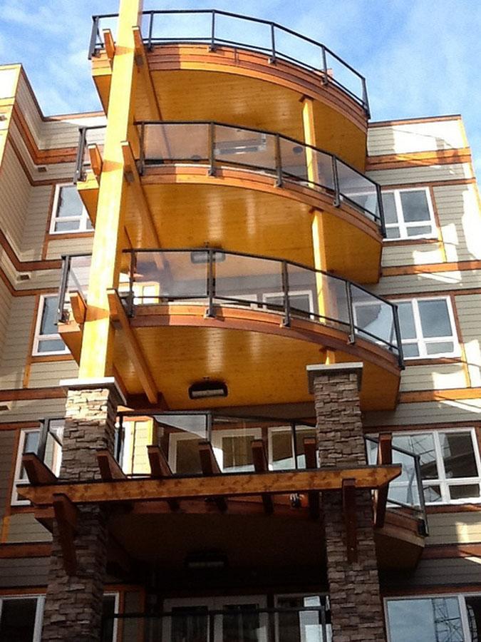 glass and metal railings