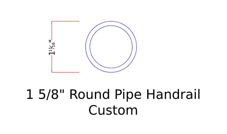 """1 5/8"""" round pipe handrail custom"""