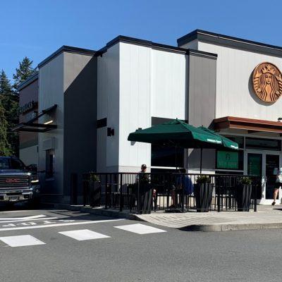 Picket railing at Starbucks